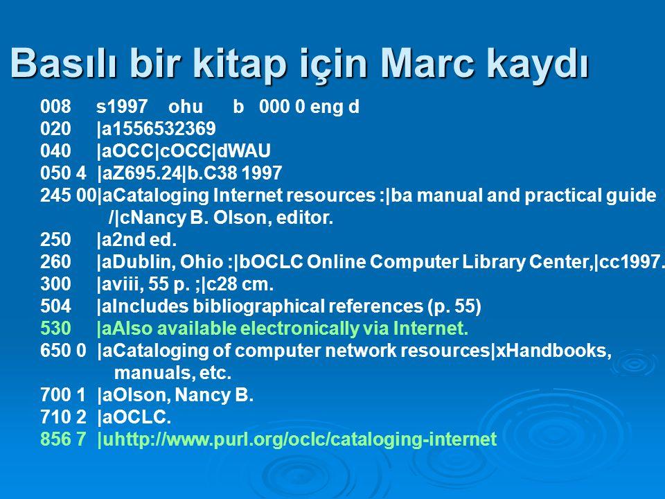 E-dergi için ek Marc tag alanları:  006-007 Kayıt türü ve kaynağın fiziksel karakteristiği  245 Genel Materyal Tanımlayıcı title'ı takiben köşeli parantez içinde [electronic resource].