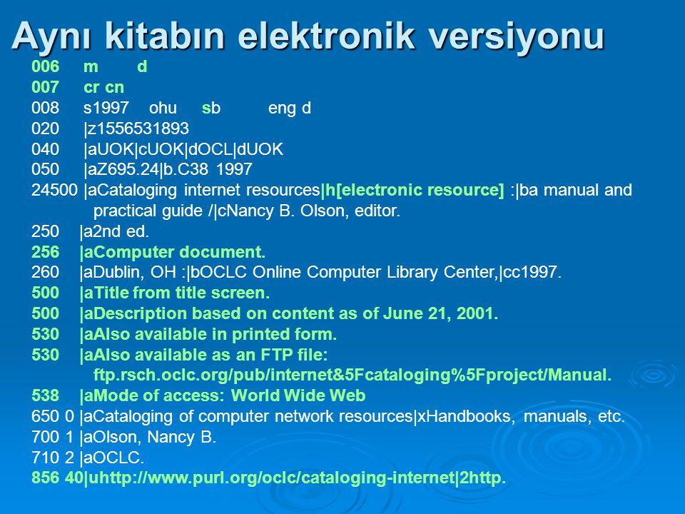 Başlığın kaynağı 500 Örn:  500 |aTitle from title screen.