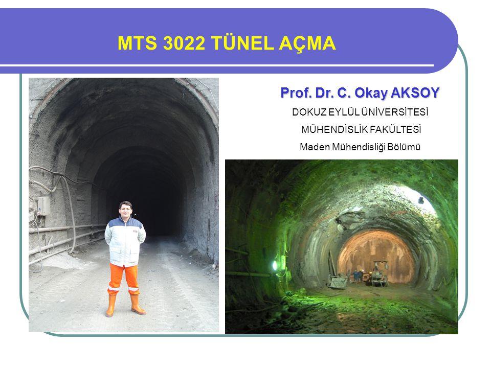 Prof. Dr. Turgay ONARGAN MTS 3022 TÜNEL AÇMA Prof. Dr. C. Okay AKSOY DOKUZ EYLÜL ÜNİVERSİTESİ MÜHENDİSLİK FAKÜLTESİ Maden Mühendisliği Bölümü