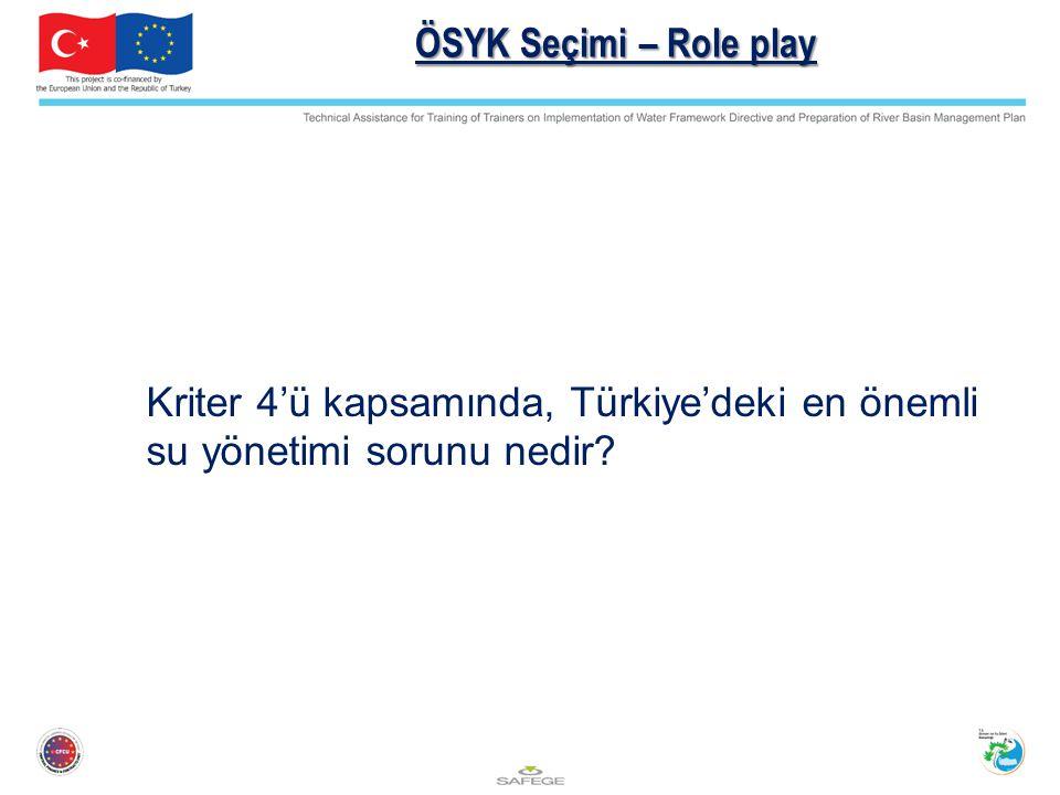 ÖSYK Seçimi – Role play Kriter 4'ü kapsamında, Türkiye'deki en önemli su yönetimi sorunu nedir?