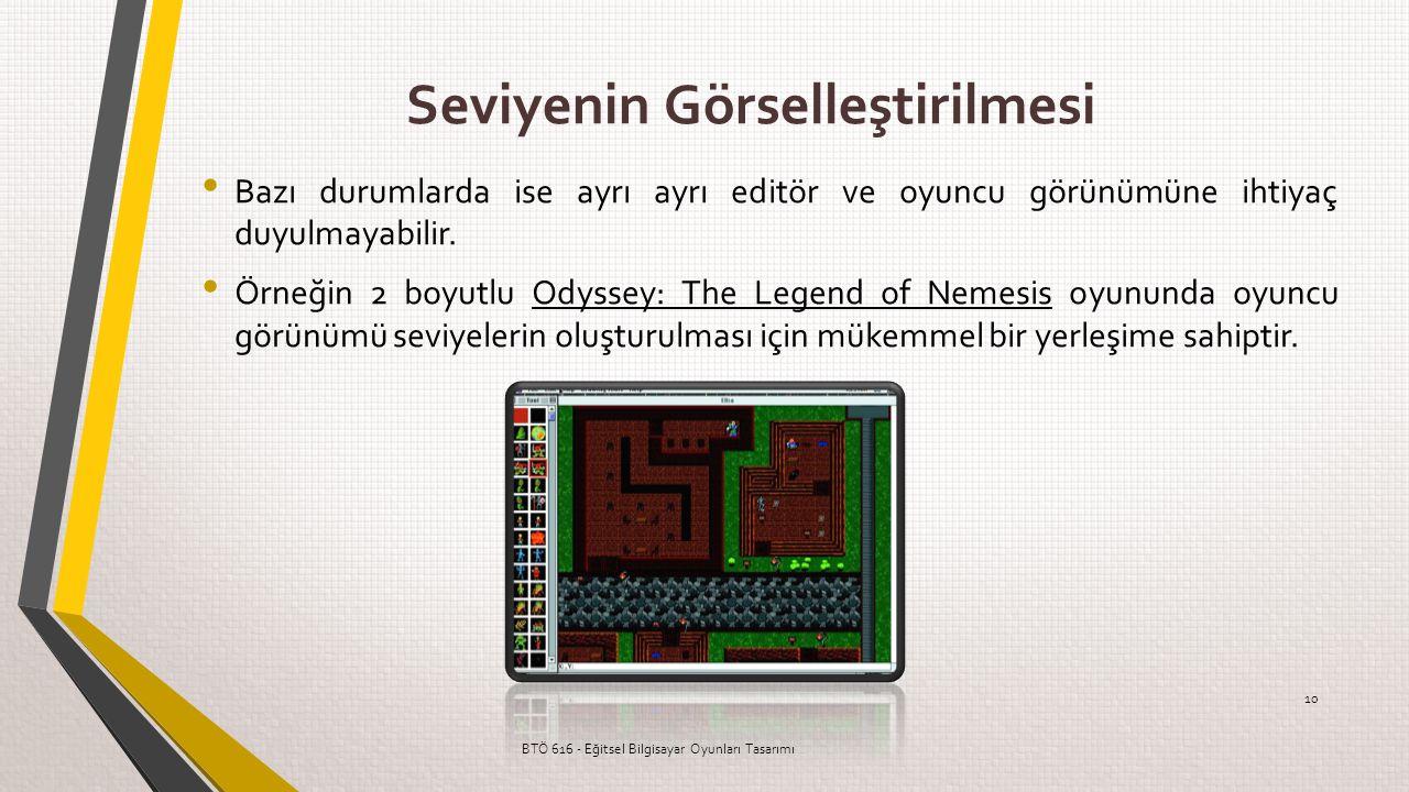 Seviyenin Görselleştirilmesi Bazı durumlarda ise ayrı ayrı editör ve oyuncu görünümüne ihtiyaç duyulmayabilir. Örneğin 2 boyutlu Odyssey: The Legend o