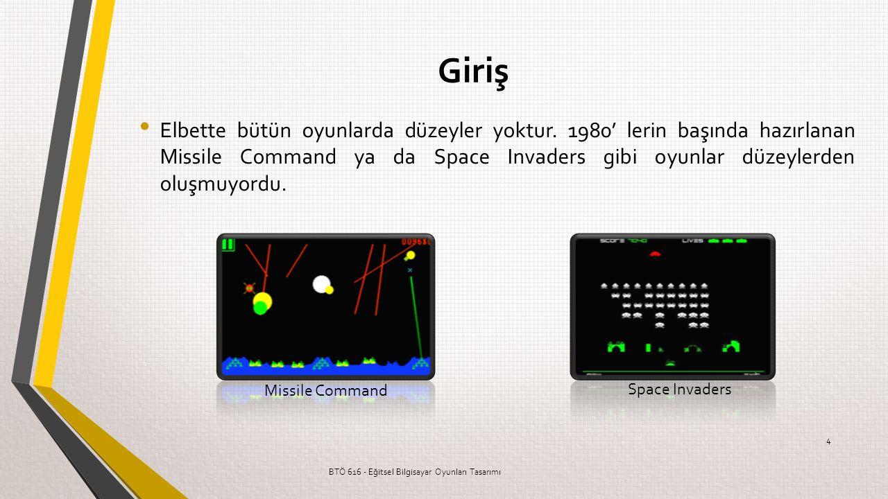 Elbette bütün oyunlarda düzeyler yoktur. 1980' lerin başında hazırlanan Missile Command ya da Space Invaders gibi oyunlar düzeylerden oluşmuyordu. BTÖ