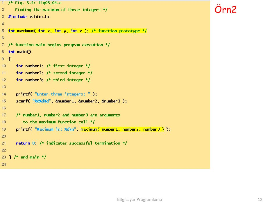 Örn2 12Bilgisayar Programlama