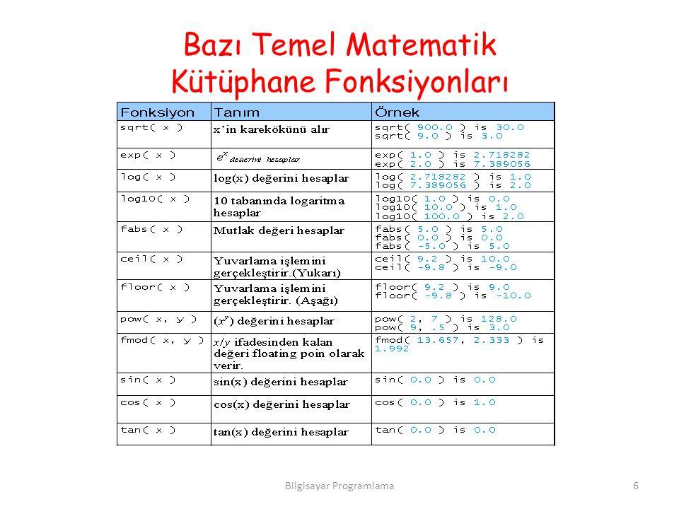 Bazı Temel Matematik Kütüphane Fonksiyonları 6Bilgisayar Programlama
