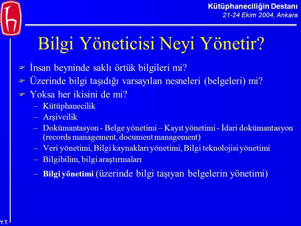 Kütüphaneciliğin Destanı 21-24 Ekim 2004, Ankara Y.T. Bilgi Yöneticisi Neyi Yönetir?  İnsan beyninde saklı örtük bilgileri mi?  Üzerinde bilgi taşıd