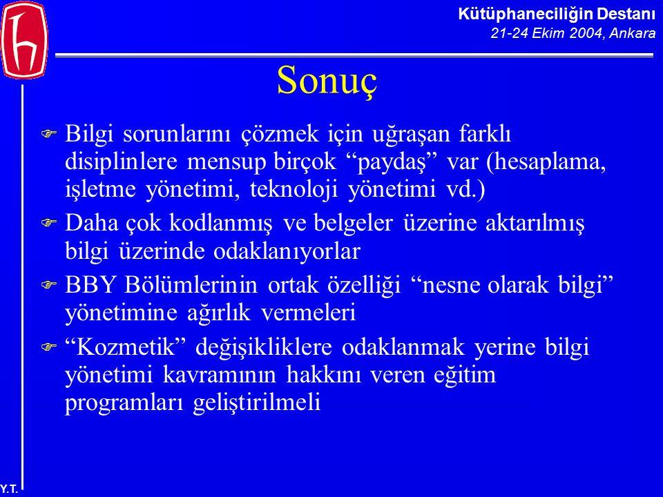 """Kütüphaneciliğin Destanı 21-24 Ekim 2004, Ankara Y.T. Sonuç  Bilgi sorunlarını çözmek için uğraşan farklı disiplinlere mensup birçok """"paydaş"""" var (he"""