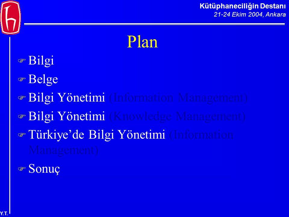 Kütüphaneciliğin Destanı 21-24 Ekim 2004, Ankara Y.T. Plan  Bilgi  Belge  Bilgi Yönetimi (Information Management)  Bilgi Yönetimi (Knowledge Manag