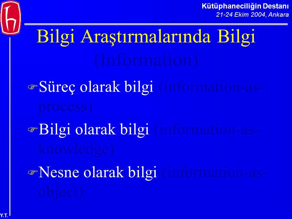 Kütüphaneciliğin Destanı 21-24 Ekim 2004, Ankara Y.T. Bilgi Araştırmalarında Bilgi (Information)  Süreç olarak bilgi (information-as- process)  Bilg