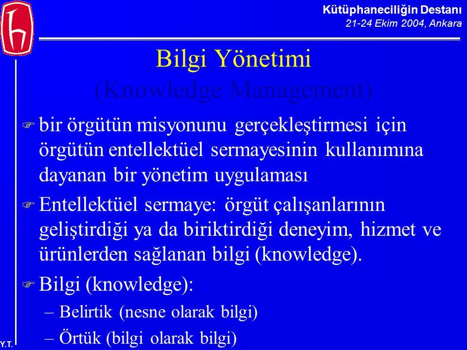Kütüphaneciliğin Destanı 21-24 Ekim 2004, Ankara Y.T. Bilgi Yönetimi (Knowledge Management)  bir örgütün misyonunu gerçekleştirmesi için örgütün ente
