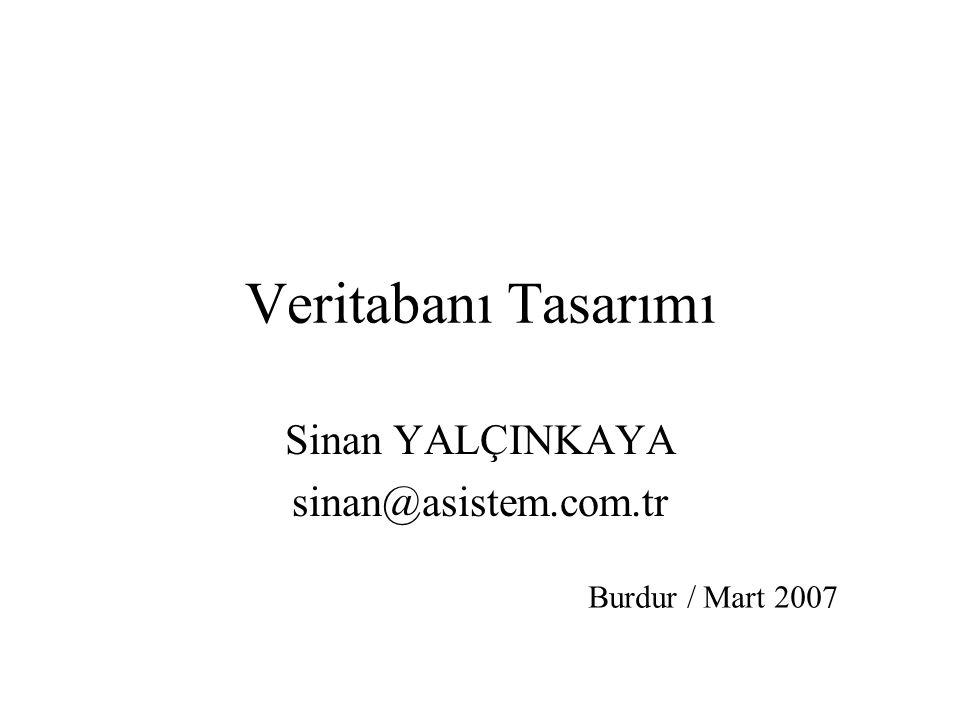 Veritabanı Tasarımı Sinan YALÇINKAYA sinan@asistem.com.tr Burdur / Mart 2007