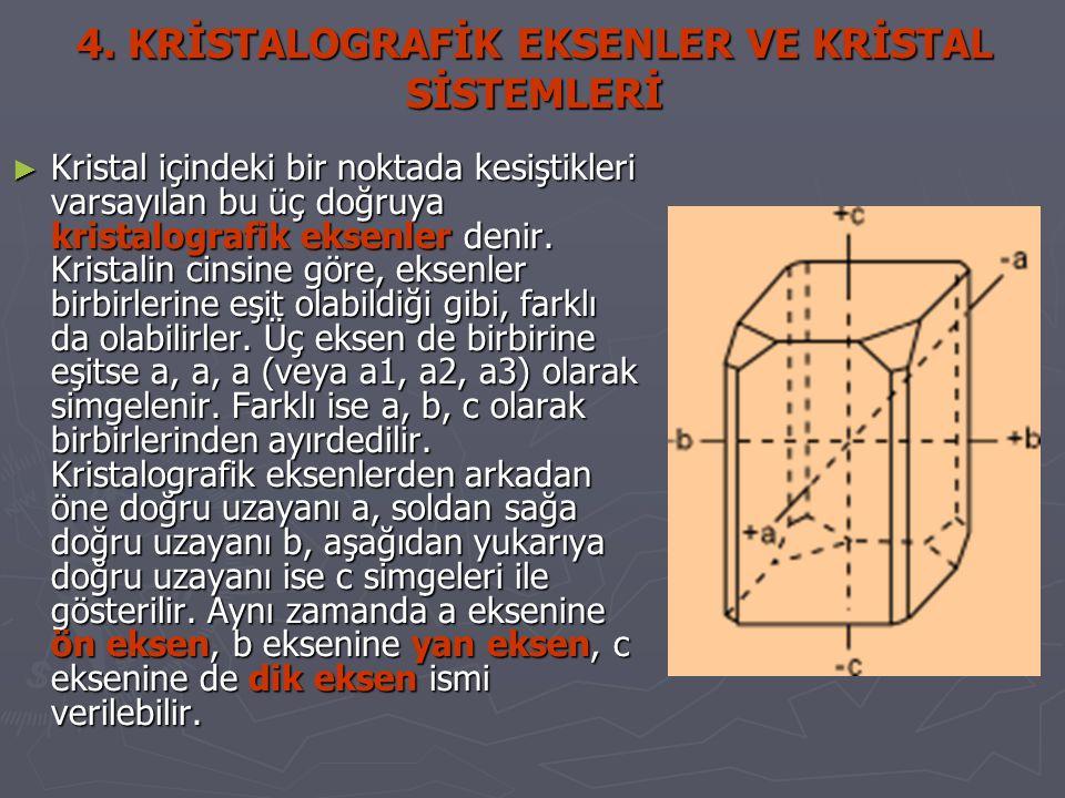 4. KRİSTALOGRAFİK EKSENLER VE KRİSTAL SİSTEMLERİ ► Kristal içindeki bir noktada kesiştikleri varsayılan bu üç doğruya kristalografik eksenler denir. K