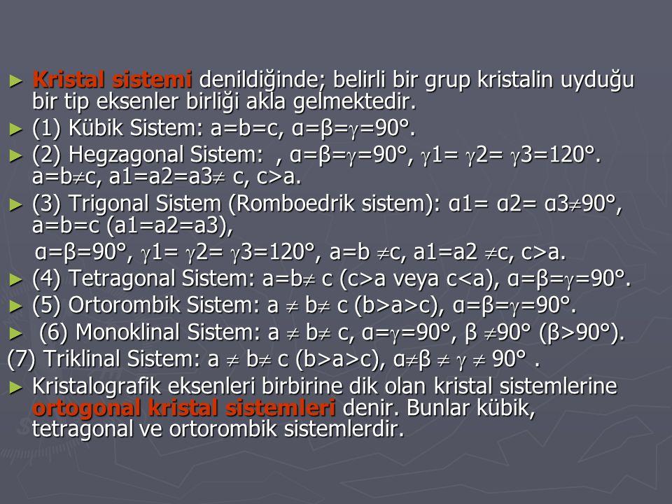 ► Kristal sistemi denildiğinde; belirli bir grup kristalin uyduğu bir tip eksenler birliği akla gelmektedir. ► (1) Kübik Sistem: a=b=c, α=β=  =90°. ►