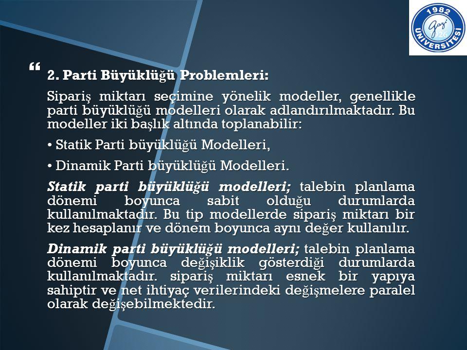  2. Parti Büyüklü ğ ü Problemleri: Sipari ş miktarı seçimine yönelik modeller, genellikle parti büyüklü ğ ü modelleri olarak adlandırılmaktadır. Bu m
