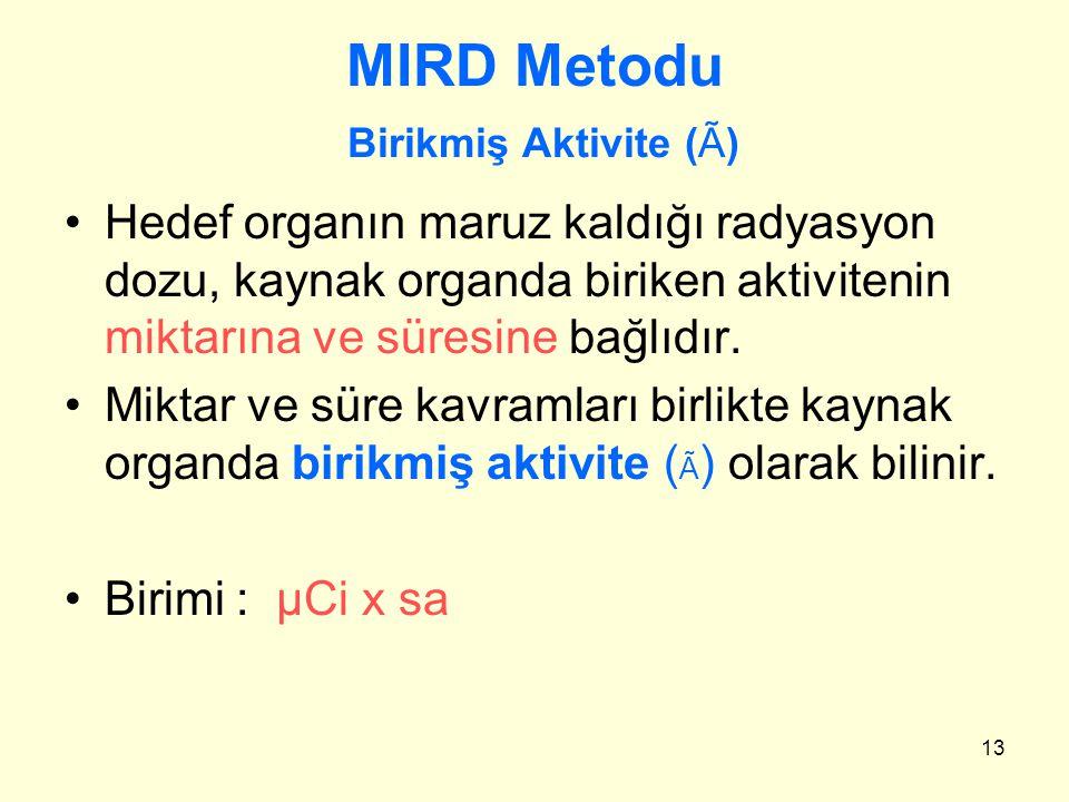 13 MIRD Metodu Birikmiş Aktivite (Ã) Hedef organın maruz kaldığı radyasyon dozu, kaynak organda biriken aktivitenin miktarına ve süresine bağlıdır. Mi