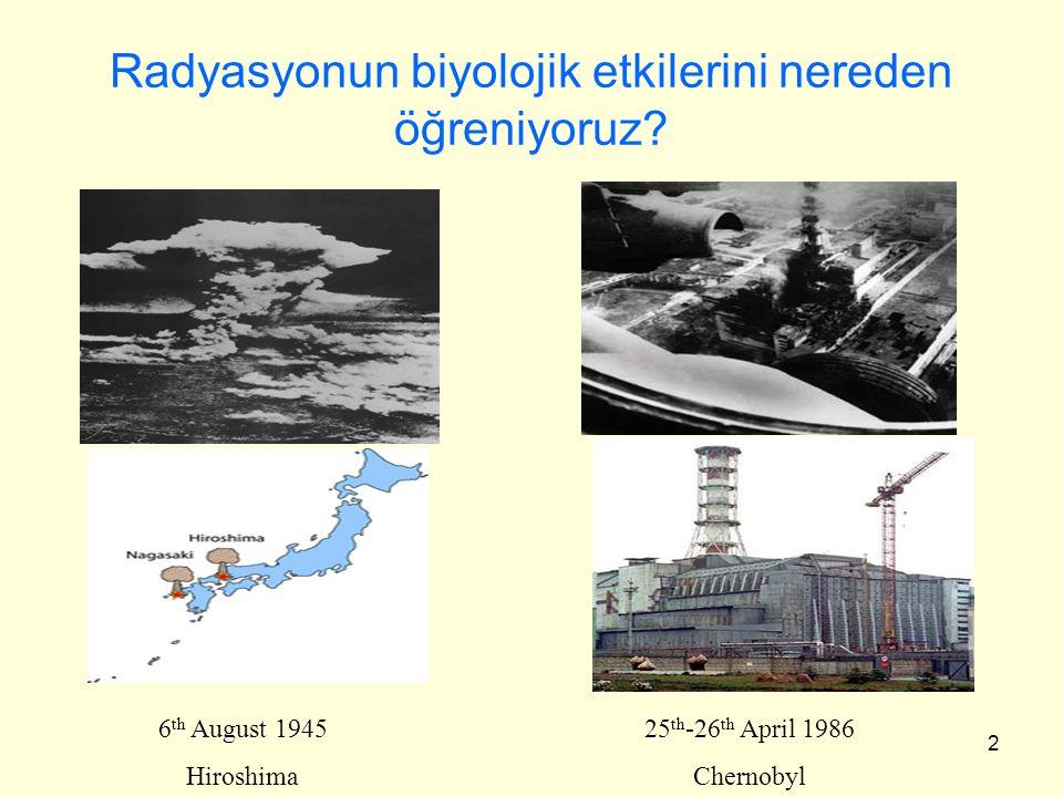 2 Radyasyonun biyolojik etkilerini nereden öğreniyoruz? 6 th August 1945 Hiroshima 25 th -26 th April 1986 Chernobyl