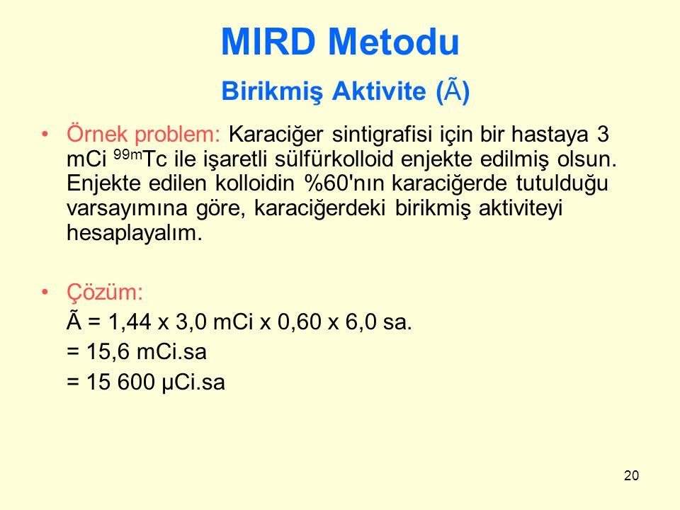 20 MIRD Metodu Birikmiş Aktivite (Ã) Örnek problem: Karaciğer sintigrafisi için bir hastaya 3 mCi 99m Tc ile işaretli sülfürkolloid enjekte edilmiş ol