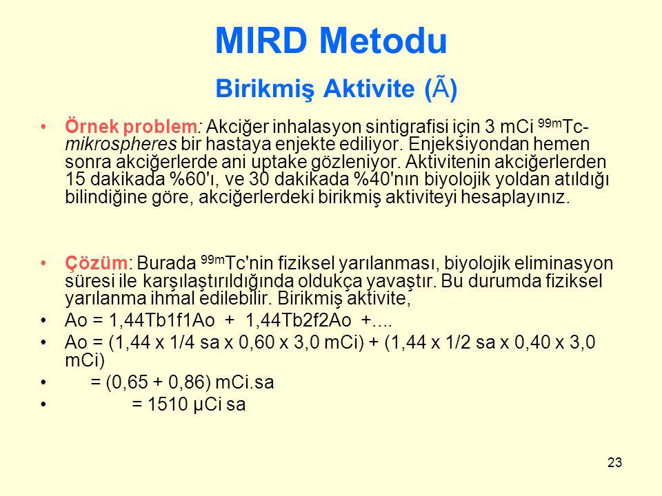 23 MIRD Metodu Birikmiş Aktivite (Ã) Örnek problem: Akciğer inhalasyon sintigrafisi için 3 mCi 99m Tc- mikrospheres bir hastaya enjekte ediliyor. Enje
