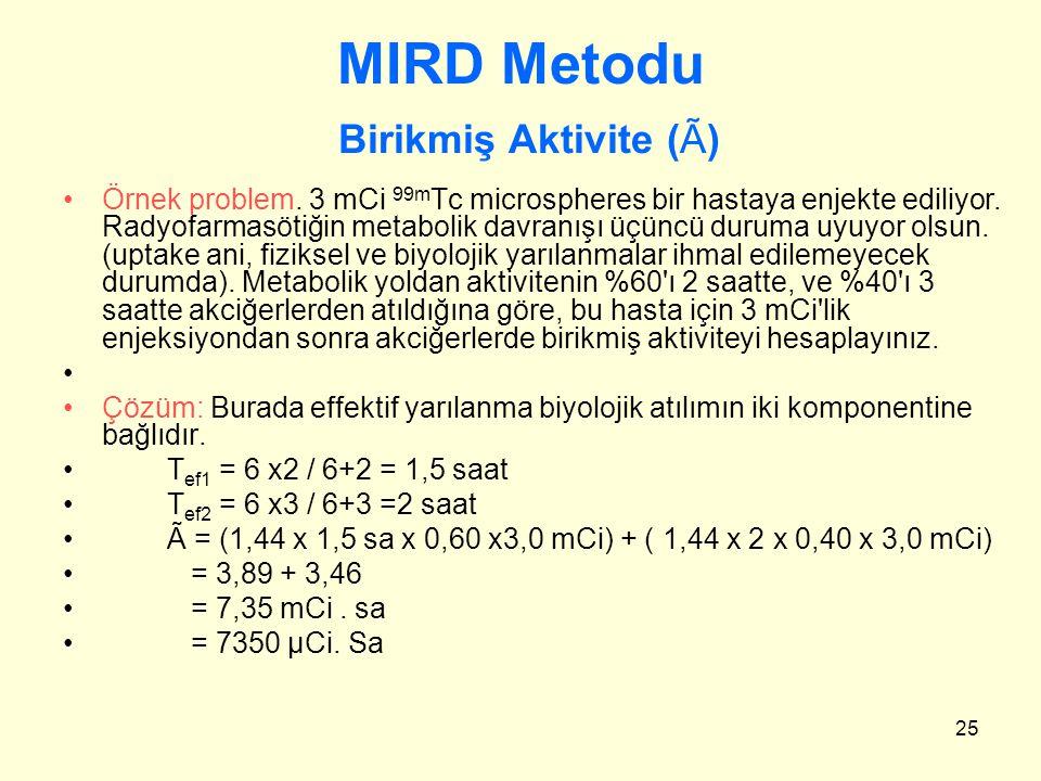 25 MIRD Metodu Birikmiş Aktivite (Ã) Örnek problem. 3 mCi 99m Tc microspheres bir hastaya enjekte ediliyor. Radyofarmasötiğin metabolik davranışı üçün