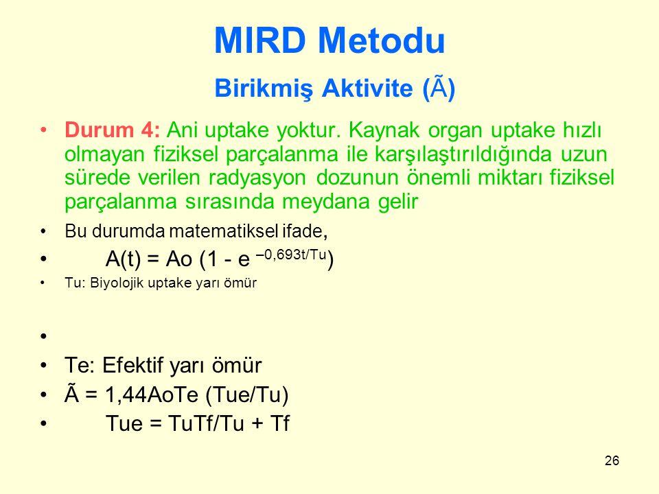26 MIRD Metodu Birikmiş Aktivite (Ã) Durum 4: Ani uptake yoktur. Kaynak organ uptake hızlı olmayan fiziksel parçalanma ile karşılaştırıldığında uzun s