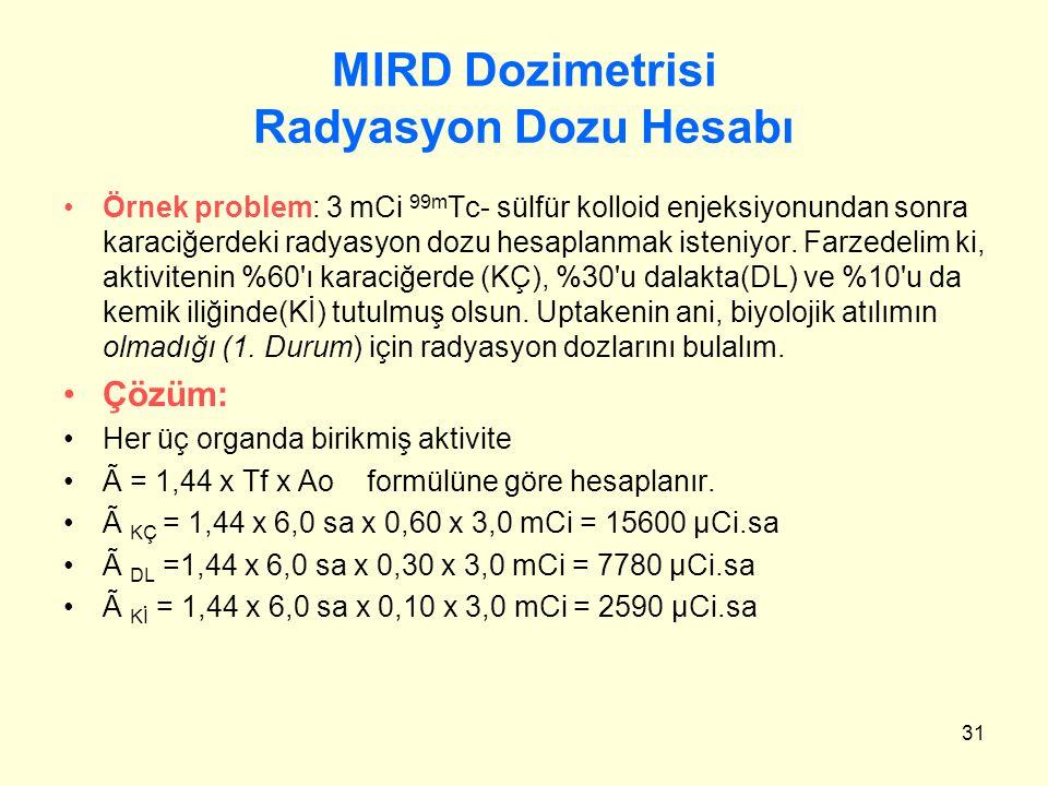 31 MIRD Dozimetrisi Radyasyon Dozu Hesabı Örnek problem: 3 mCi 99m Tc- sülfür kolloid enjeksiyonundan sonra karaciğerdeki radyasyon dozu hesaplanmak i