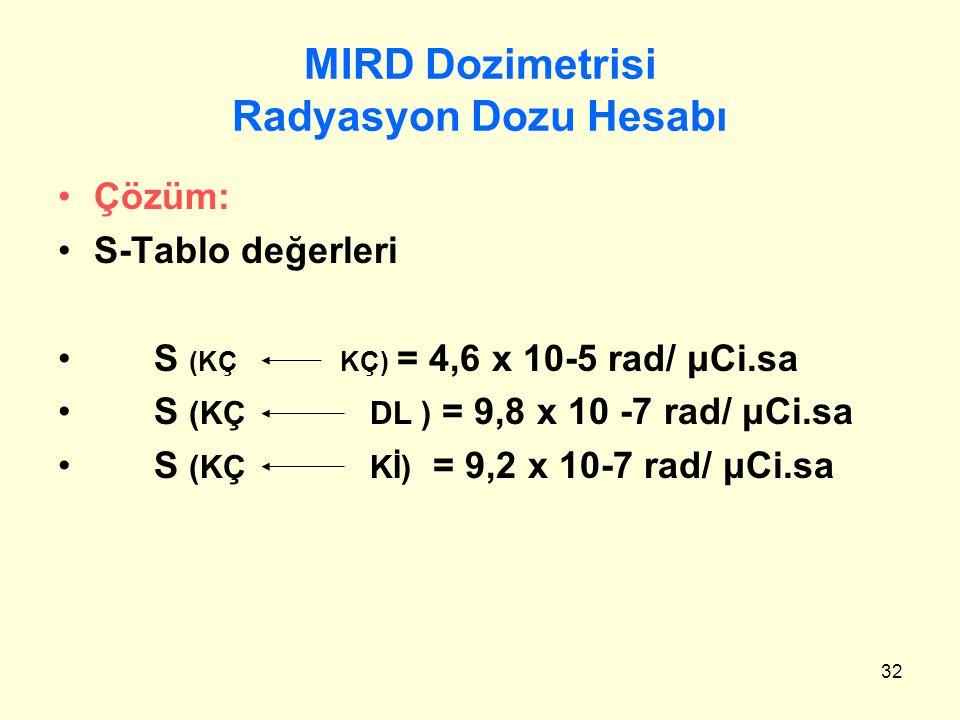 32 MIRD Dozimetrisi Radyasyon Dozu Hesabı Çözüm: S-Tablo değerleri S (KÇ KÇ) = 4,6 x 10-5 rad/ μCi.sa S (KÇ DL ) = 9,8 x 10 -7 rad/ μCi.sa S (KÇ Kİ) =