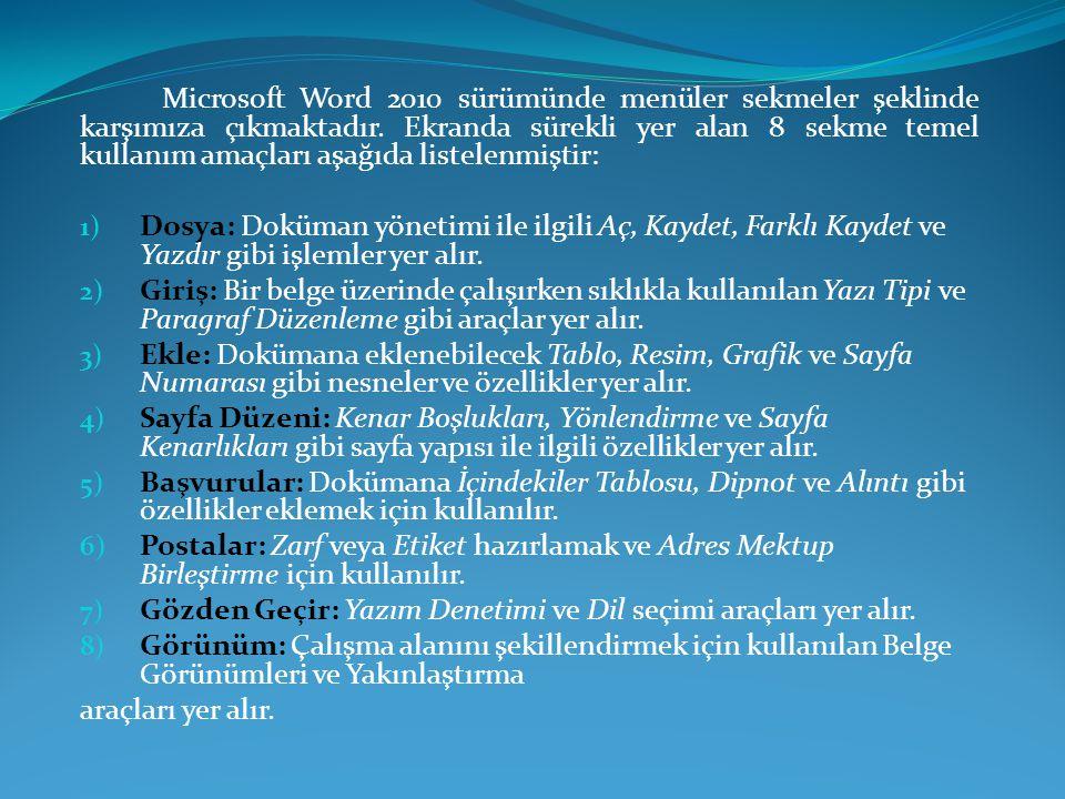 Microsoft Word 2010 sürümünde menüler sekmeler şeklinde karşımıza çıkmaktadır. Ekranda sürekli yer alan 8 sekme temel kullanım amaçları aşağıda listel