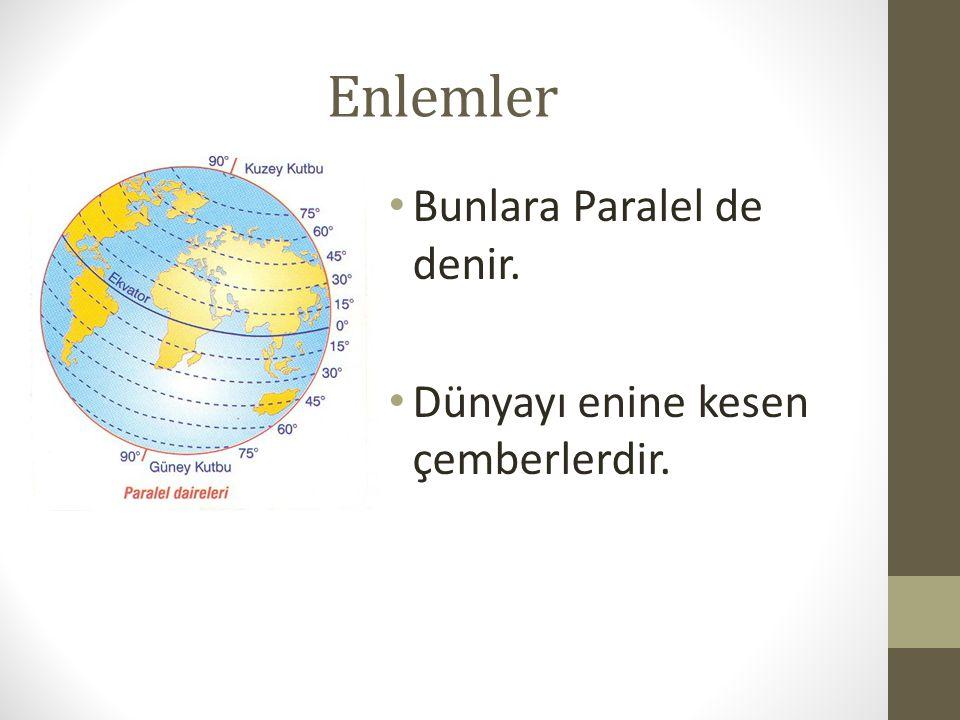 Enlemin Özellikleri Ekvatorun 90 kuzeyinde, 90 da güneyinde olmak üzere toplam 180 paralel bulunur.