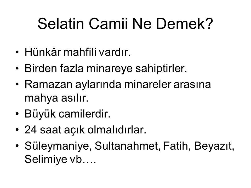 Selatin Camii Ne Demek.Hünkâr mahfili vardır. Birden fazla minareye sahiptirler.