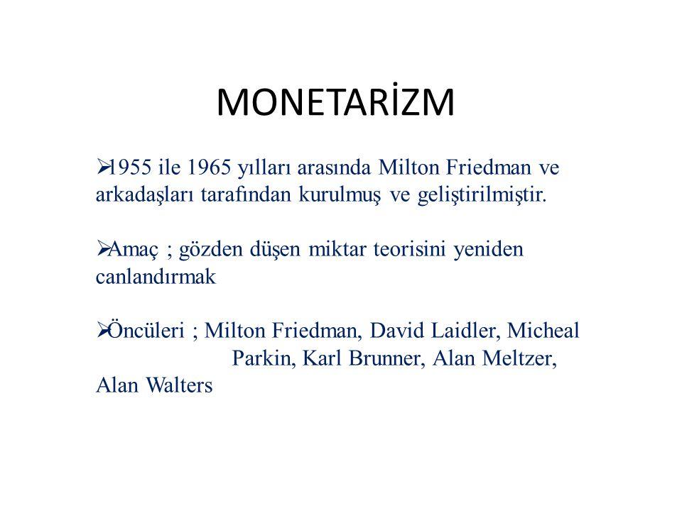 MONETARİZM  1955 ile 1965 yılları arasında Milton Friedman ve arkadaşları tarafından kurulmuş ve geliştirilmiştir.  Amaç ; gözden düşen miktar teori
