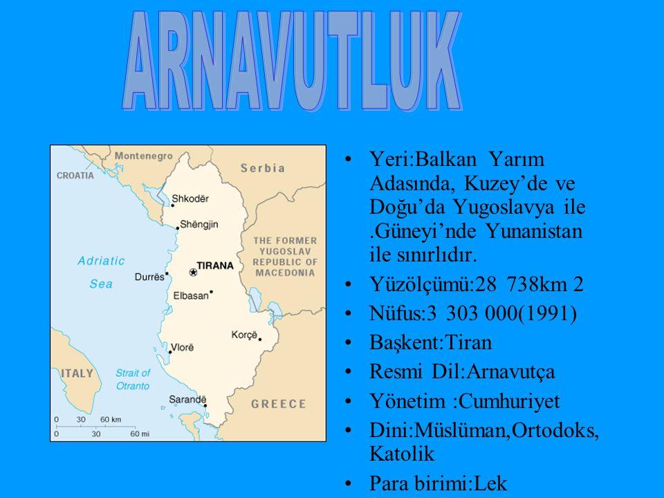 Yeri:Balkan Yarım Adasında, Kuzey'de ve Doğu'da Yugoslavya ile.Güneyi'nde Yunanistan ile sınırlıdır. Yüzölçümü:28 738km 2 Nüfus:3 303 000(1991) Başken