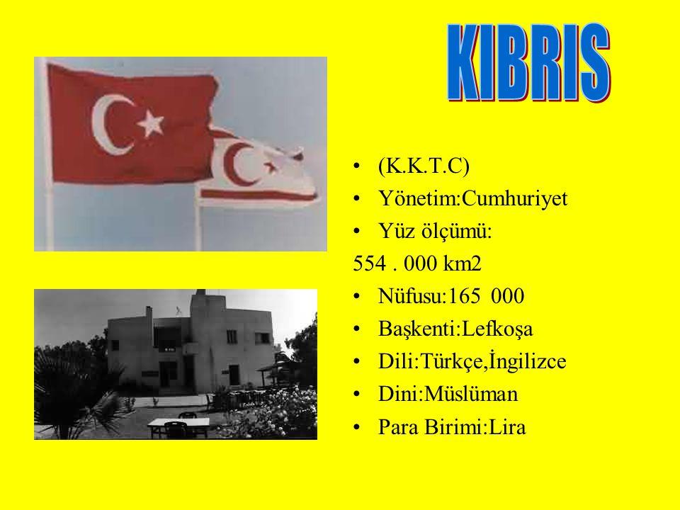 (K.K.T.C) Yönetim:Cumhuriyet Yüz ölçümü: 554. 000 km2 Nüfusu:165 000 Başkenti:Lefkoşa Dili:Türkçe,İngilizce Dini:Müslüman Para Birimi:Lira