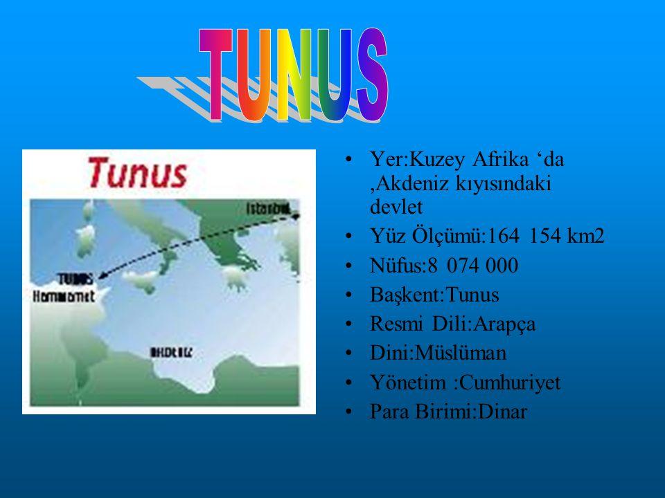 Yer:Kuzey Afrika 'da,Akdeniz kıyısındaki devlet Yüz Ölçümü:164 154 km2 Nüfus:8 074 000 Başkent:Tunus Resmi Dili:Arapça Dini:Müslüman Yönetim :Cumhuriy