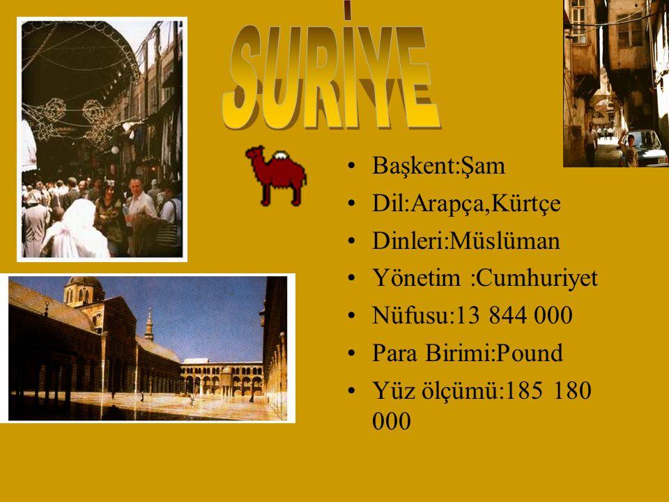 Başkent:Şam Dil:Arapça,Kürtçe Dinleri:Müslüman Yönetim :Cumhuriyet Nüfusu:13 844 000 Para Birimi:Pound Yüz ölçümü:185 180 000
