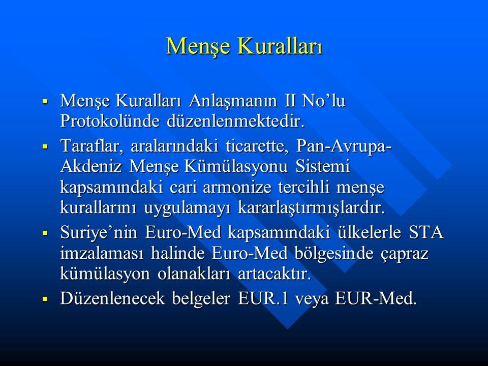 Menşe Kurallar ı  Menşe Kuralları Anlaşmanın II No'lu Protokolünde düzenlenmektedir.  Taraflar, aralarındaki ticarette, Pan-Avrupa- Akdeniz Menşe Kü