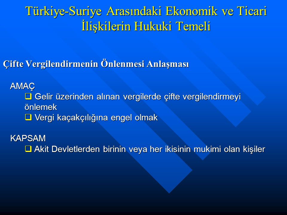 Çifte Vergilendirmenin Önlenmesi Anlaşması Türkiye-Suriye Arasındaki Ekonomik ve Ticari İlişkilerin Hukuki Temeli AMAÇ  Gelir üzerinden alınan vergil