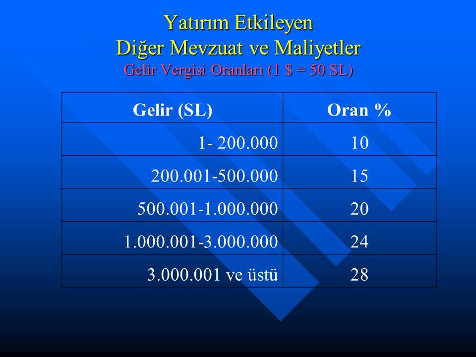 Yatırım Etkileyen Diğer Mevzuat ve Maliyetler Gelir Vergisi Oranları (1 $ = 50 SL) Gelir (SL)Oran % 1- 200.00010 200.001-500.00015 500.001-1.000.00020