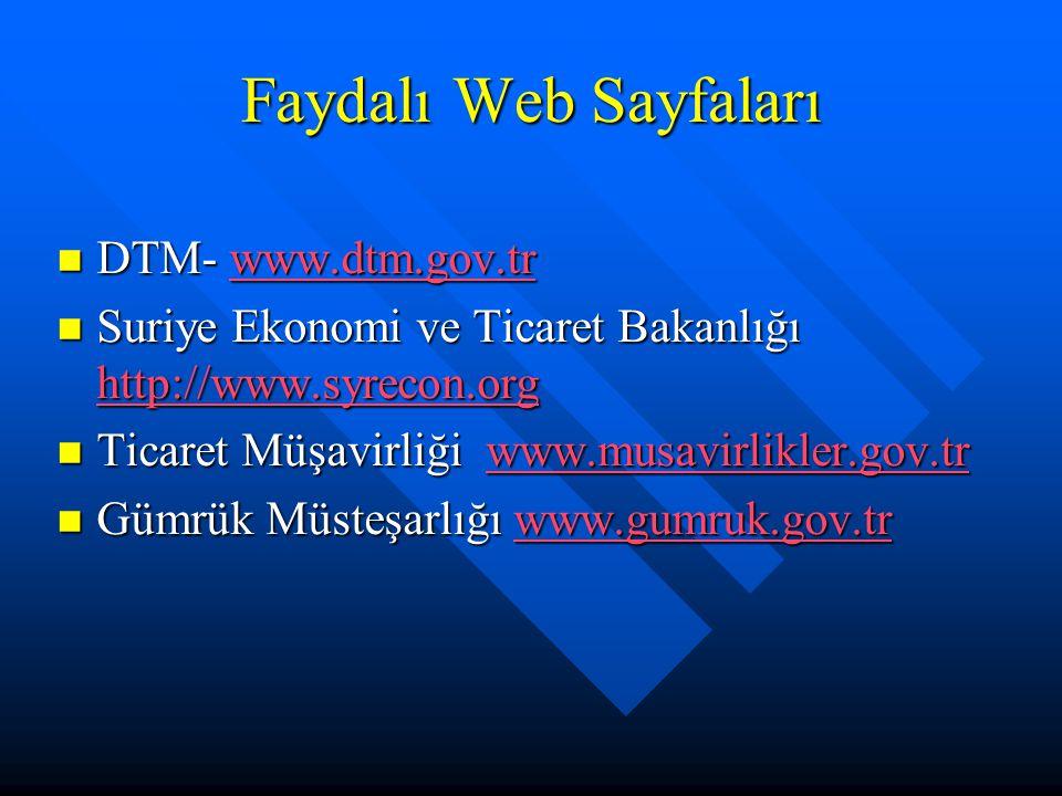 Faydalı Web Sayfaları DTM- www.dtm.gov.tr DTM- www.dtm.gov.trwww.dtm.gov.tr Suriye Ekonomi ve Ticaret Bakanlığı http://www.syrecon.org Suriye Ekonomi