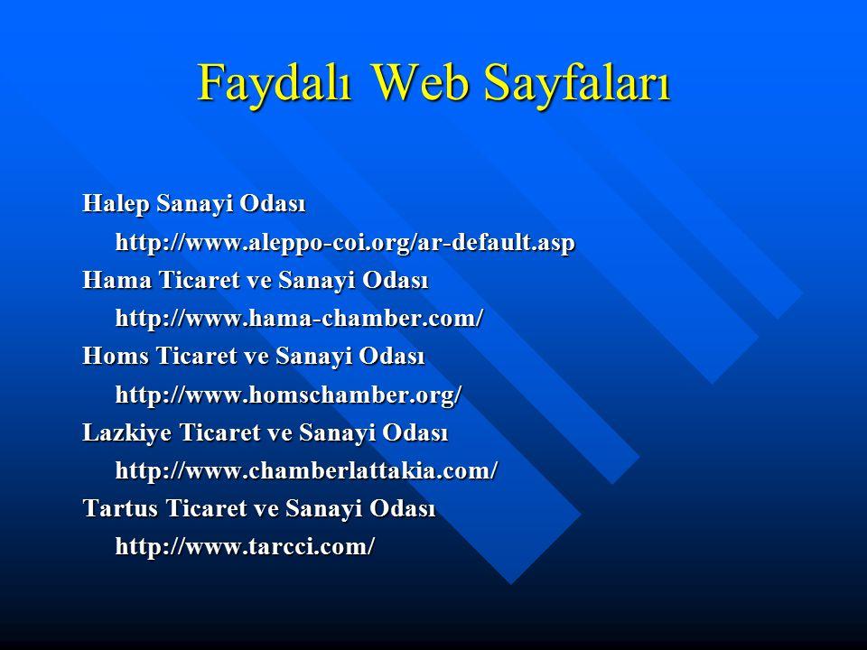 Faydalı Web Sayfaları Halep Sanayi Odası http://www.aleppo-coi.org/ar-default.asp Hama Ticaret ve Sanayi Odası http://www.hama-chamber.com/ Homs Ticar