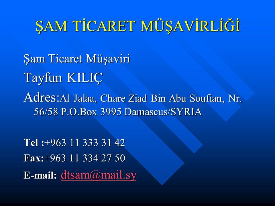 ŞAM TİCARET MÜŞAVİRLİĞİ Şam Ticaret Müşaviri Tayfun KILIÇ Adres: Al Jalaa, Chare Ziad Bin Abu Soufian, Nr. 56/58 P.O.Box 3995 Damascus/SYRIA Tel :+963