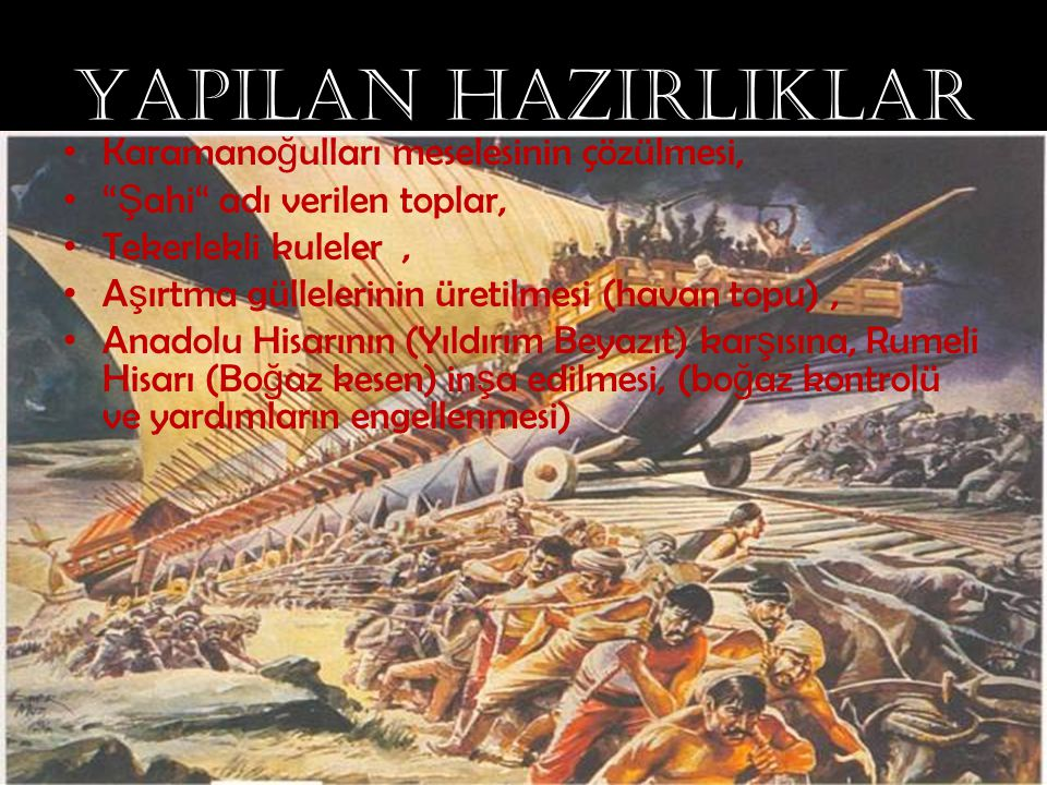 """YAPILAN HAZIRLIKLAR Karamano ğ ulları meselesinin çözülmesi, """" Ş ahi"""" adı verilen toplar, Tekerlekli kuleler, A ş ırtma güllelerinin üretilmesi (havan"""
