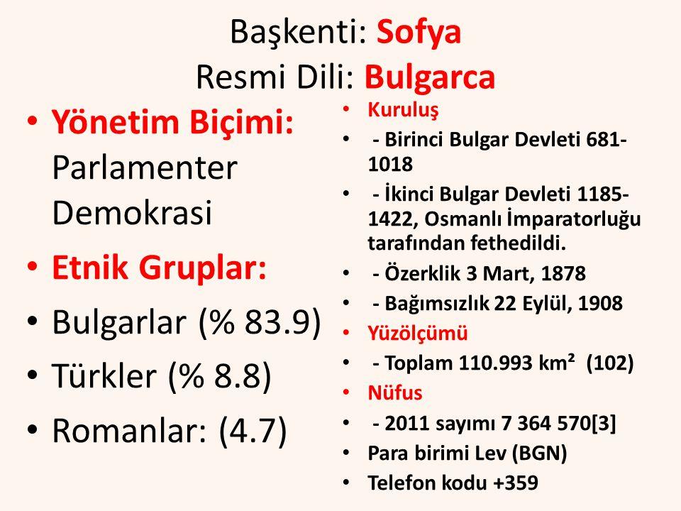 Başkenti: Sofya Resmi Dili: Bulgarca Yönetim Biçimi: Parlamenter Demokrasi Etnik Gruplar: Bulgarlar (% 83.9) Türkler (% 8.8) Romanlar: (4.7) Kuruluş - Birinci Bulgar Devleti 681- 1018 - İkinci Bulgar Devleti 1185- 1422, Osmanlı İmparatorluğu tarafından fethedildi.