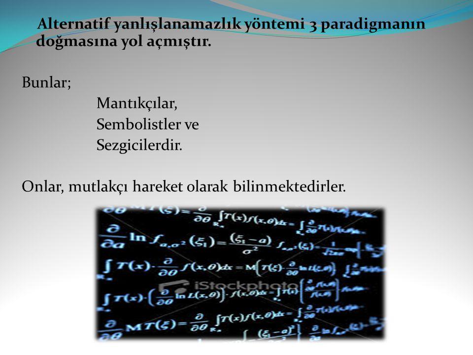 Alternatif yanlışlanamazlık yöntemi 3 paradigmanın doğmasına yol açmıştır. Bunlar; Mantıkçılar, Sembolistler ve Sezgicilerdir. Onlar, mutlakçı hareket