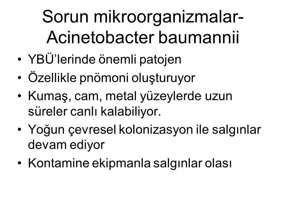 Sorun mikroorganizmalar- Acinetobacter baumannii YBÜ'lerinde önemli patojen Özellikle pnömoni oluşturuyor Kumaş, cam, metal yüzeylerde uzun süreler ca