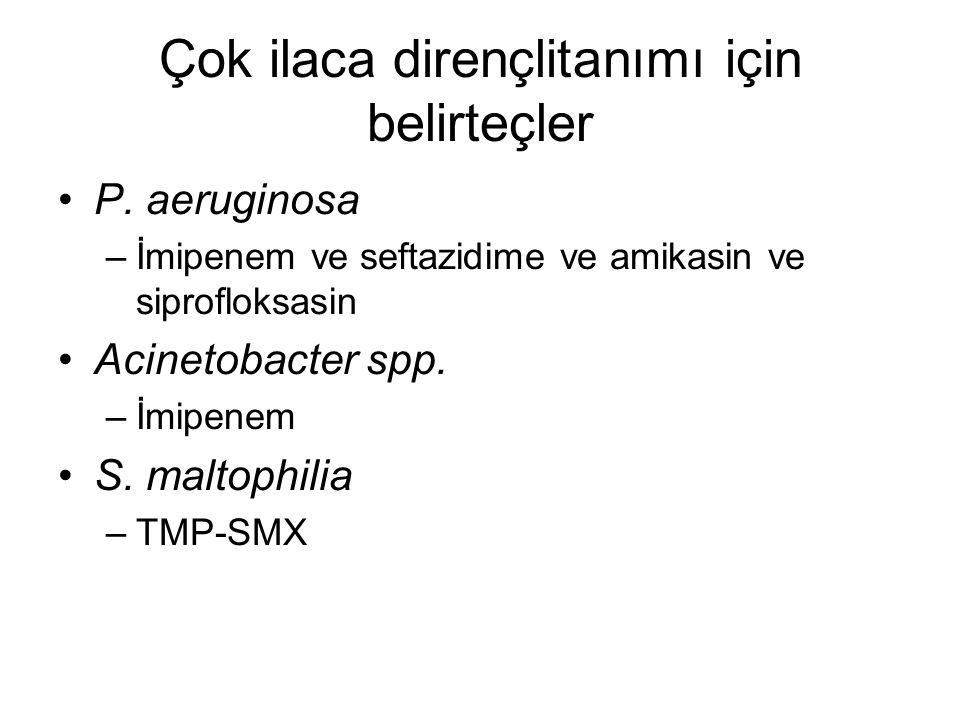 Çok ilaca dirençlitanımı için belirteçler P. aeruginosa –İmipenem ve seftazidime ve amikasin ve siprofloksasin Acinetobacter spp. –İmipenem S. maltoph