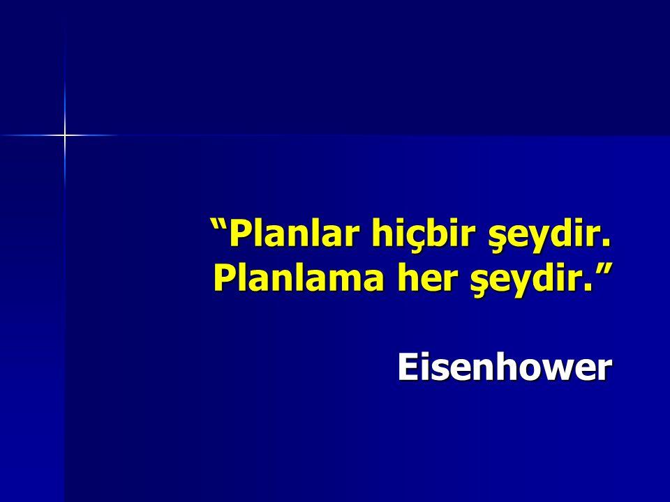 """""""Planlar hiçbir şeydir. Planlama her şeydir."""" Eisenhower"""
