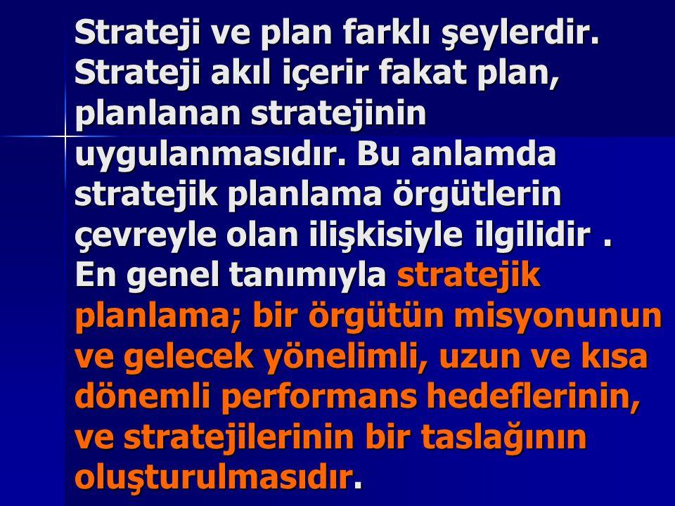 Strateji ve plan farklı şeylerdir. Strateji akıl içerir fakat plan, planlanan stratejinin uygulanmasıdır. Bu anlamda stratejik planlama örgütlerin çev