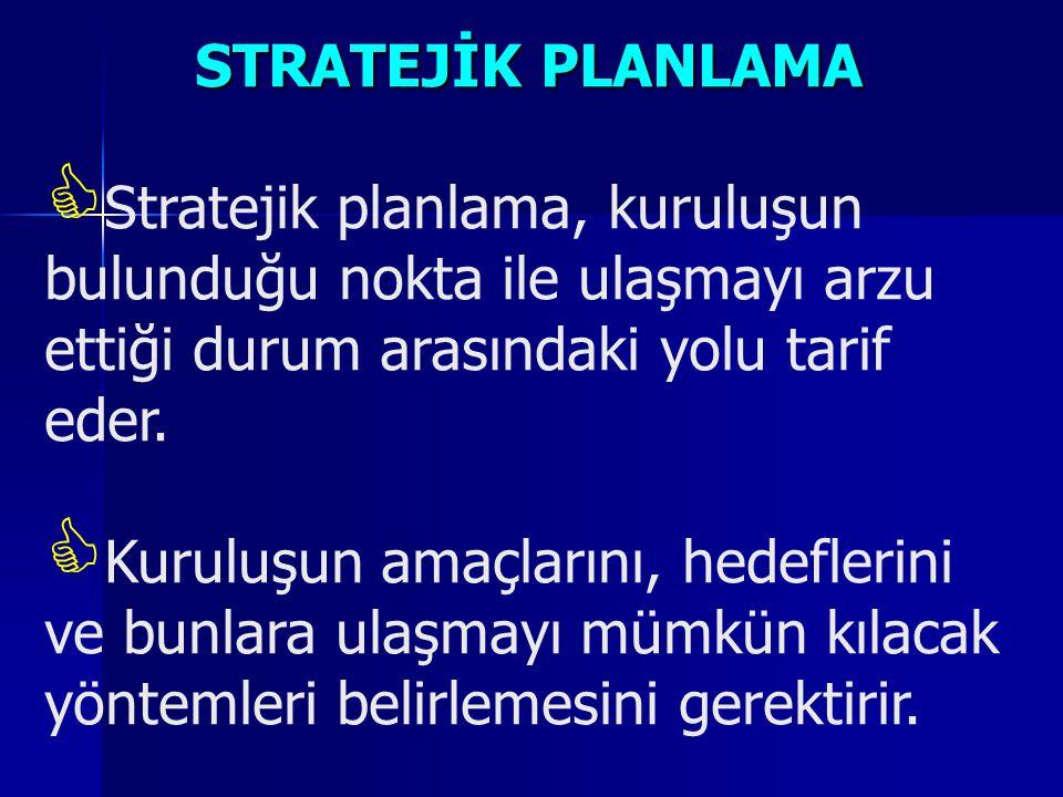 STRATEJİK PLANLAMA  Stratejik planlama, kuruluşun bulunduğu nokta ile ulaşmayı arzu ettiği durum arasındaki yolu tarif eder.  Kuruluşun amaçlarını,
