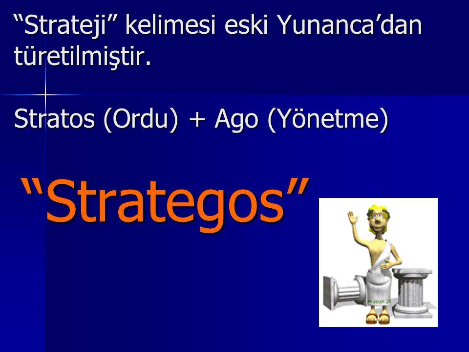"""""""Strateji"""" kelimesi eski Yunanca'dan türetilmiştir. Stratos (Ordu) + Ago (Yönetme) """"Strategos"""""""