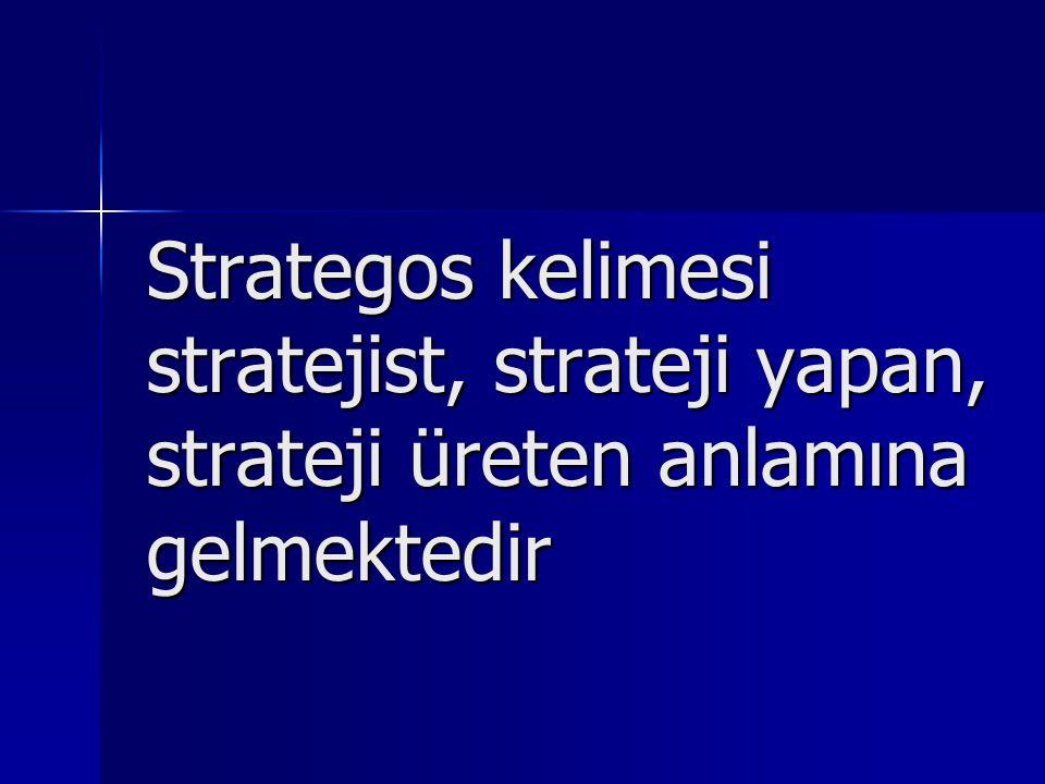 Strategos kelimesi stratejist, strateji yapan, strateji üreten anlamına gelmektedir