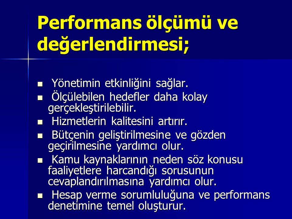 Performans ölçümü ve değerlendirmesi; Yönetimin etkinliğini sağlar. Yönetimin etkinliğini sağlar. Ölçülebilen hedefler daha kolay gerçekleştirilebilir